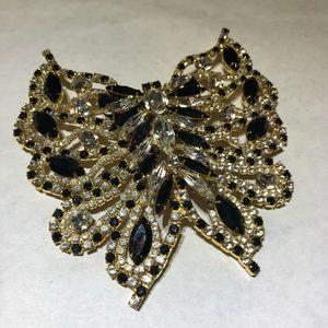 Vintage Rhinestone butterfly massive brooch pin